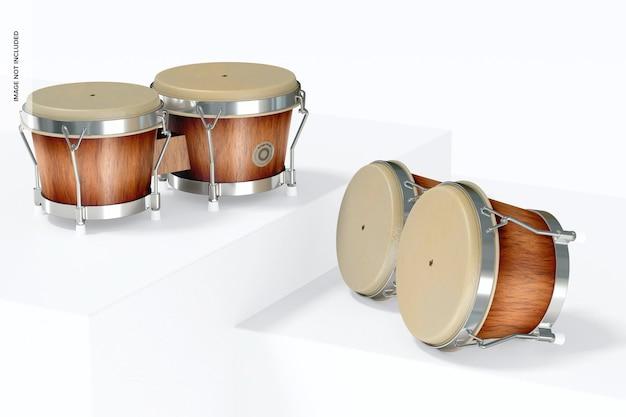 Bongo drums mockup, stehend und fallengelassen