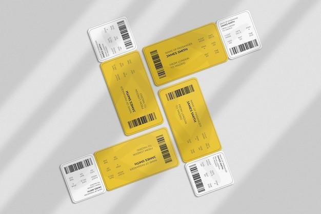 Bordkarte oder ticketmodell mit schattenüberlagerung