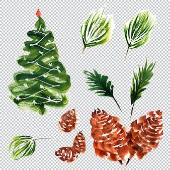 Botanische aquarellelemente zu weihnachten und neujahr, geschichtete illustration