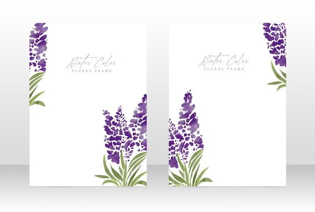 Botanische rahmenkarte der femininen hochzeit der aquarellblume