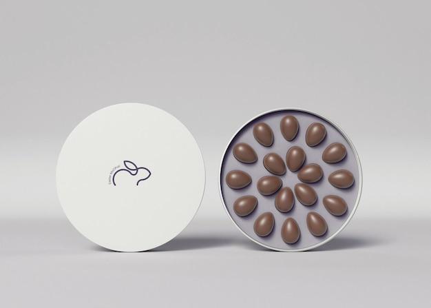 Box mit kleinen schokoladeneiern mockup