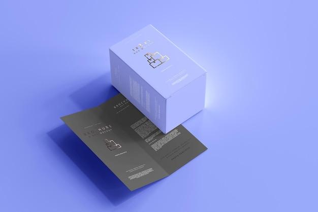 Box mit zweifach gefaltetem broschürenmodell