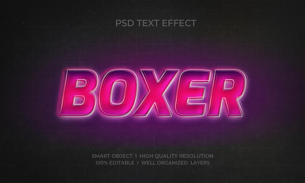 Boxer 3d-stil neon-texteffekt-vorlage
