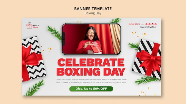 Boxing day sales horizontale bannervorlage