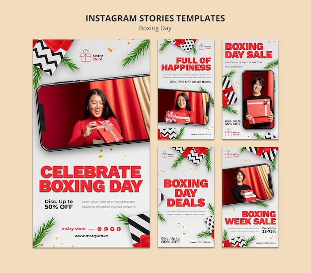 Boxing day sales instagram stories set