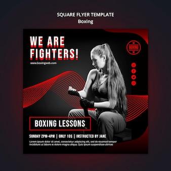 Boxing square flyer vorlage mit foto