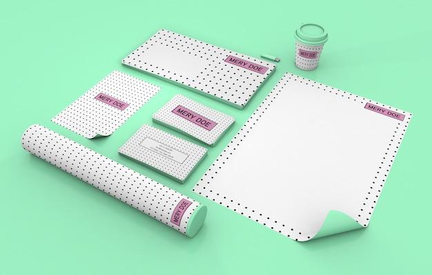 Branding-elemente verspotten 3d-rendering