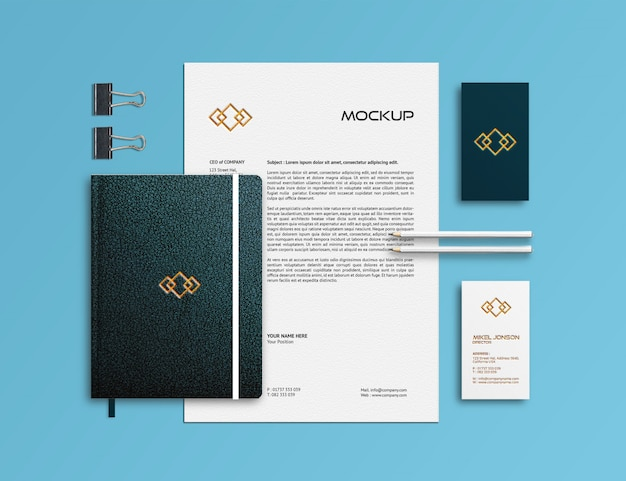 Branding stationery mockup template