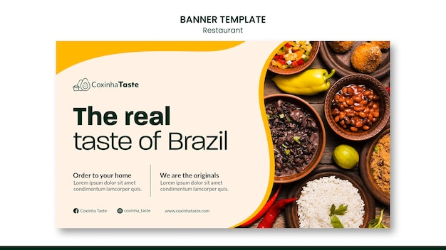 Brasilianische lebensmittel-banner-vorlage