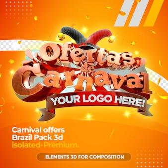 Brasilianisches karnevalslogo lokalisiert in 3d-darstellung