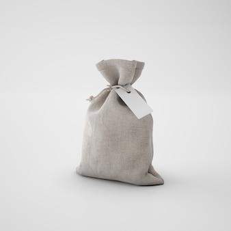 Brauner sack mit papieranhänger