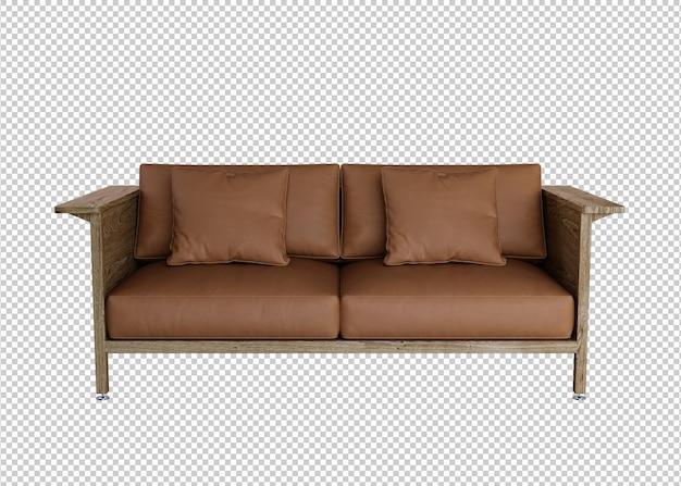 Braunes sofa 3d-rendering