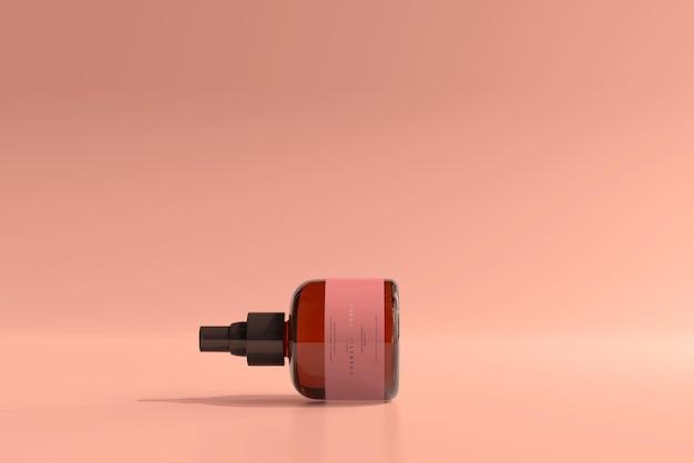 Braunglas-kosmetik-sprühflasche mockup