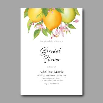 Brautdusche vorlage mit aquarell zitronenfrucht dekoration