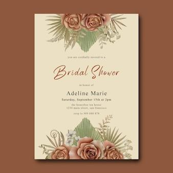 Brautduschenkartenschablone mit tropischen rosen und blättern des aquarells