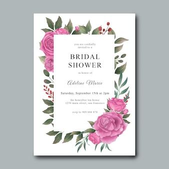Brautpartyeinladungsschablonen mit aquarellblumen