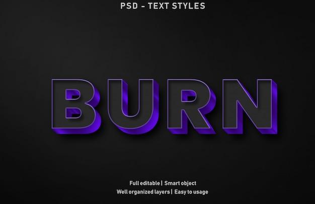 Brennen sie texteffekte stil premium bearbeitbar