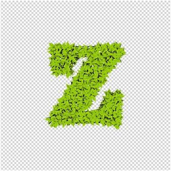 Brief aus grünen blättern 3d-rendering