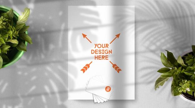 Briefpapier modell mit szene tropische umgebung, draufsicht