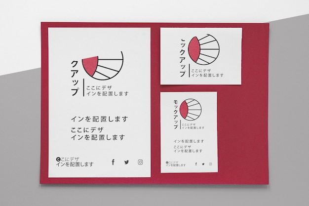 Briefpapierdokumente von oben mit logo-modell