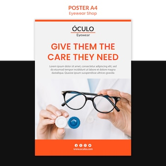 Brillen shop konzept poster vorlage