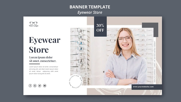Brillengeschäft banner vorlage konzept