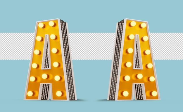 Broadway-stil glühbirne alphabet 3d-rendering
