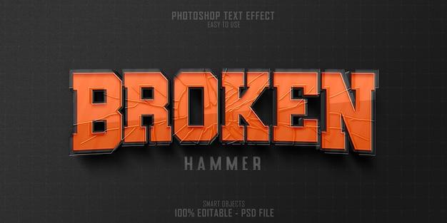 Broken hammer 3d-textstil-effektvorlage