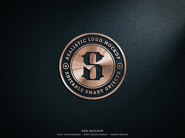 Bronze oder kupfer metallic shiny logo mockup