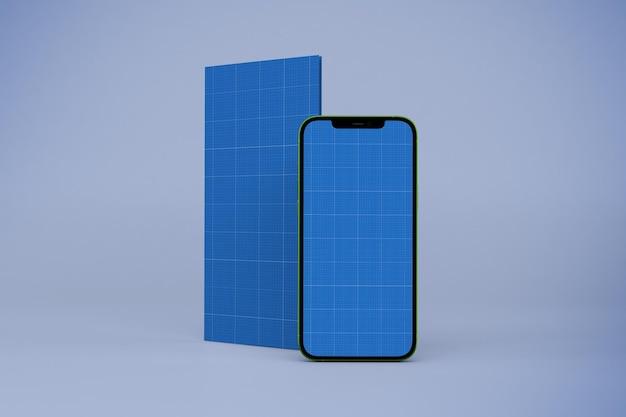 Broschüre und smartphone-modell