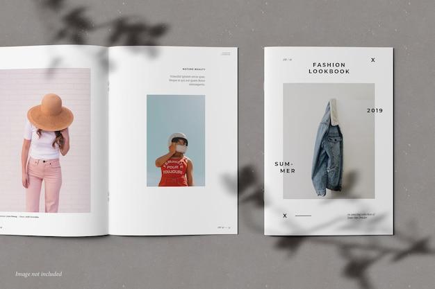Broschüren- und katalogmodell mit schattenüberlagerung