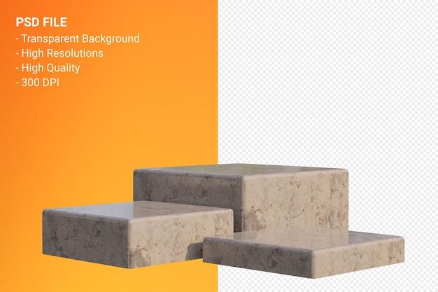 Brown marble podium minimal isoliert für kosmetische produktpräsentation