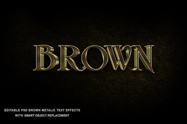 Brown-metallischer text-effekt