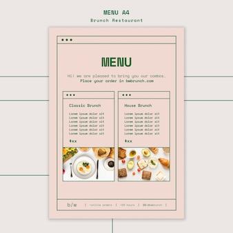 Brunch restaurant vorlage menü