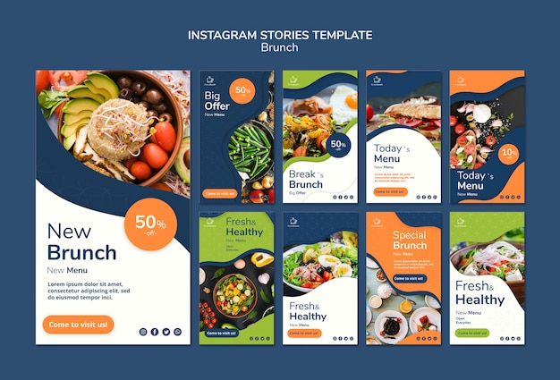 Brunch-thema für instagram-geschichten-vorlage