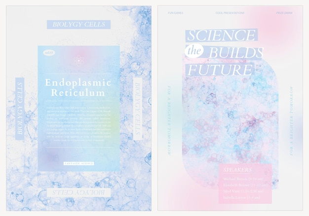 Bubble art science vorlage psd event ästhetische werbeplakate doppelset
