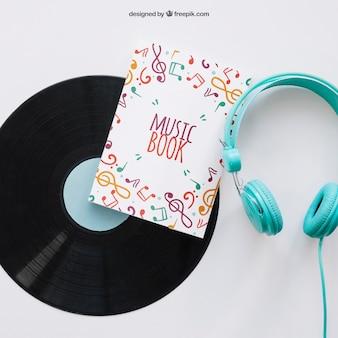 Buch-cover-vorlage mit vinyl