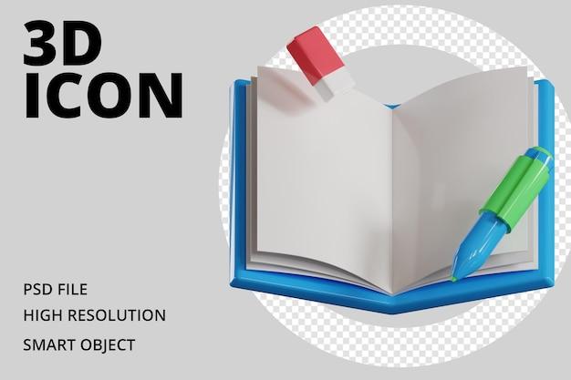 Buch mit stift- und radiergummi-symbol 3d