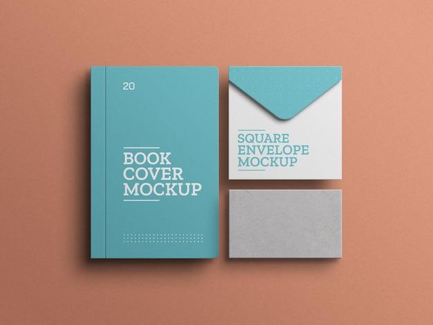 Buch mit umschlag briefpapier set mockup