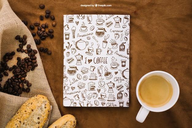 Buchcover mockup mit kaffee