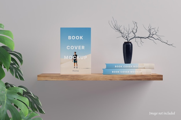 Buchcover-modell auf einem schwimmenden regal