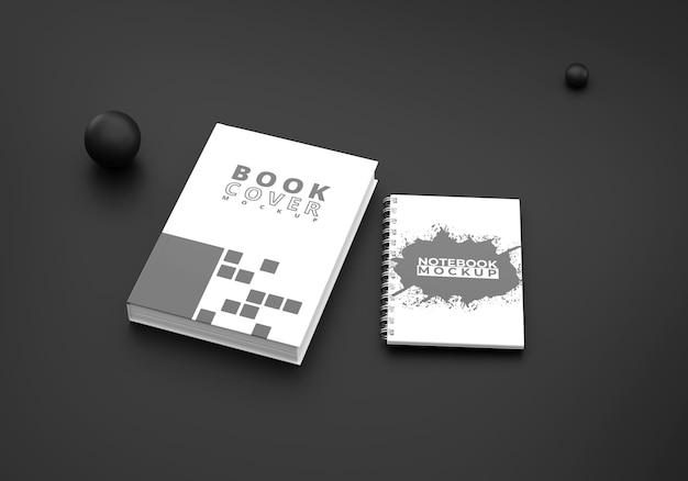 Buchcover und notizbuchmodell