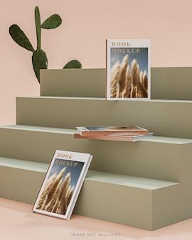 Buchcovermodell auf pastellgrünen treppen 3d-rendering