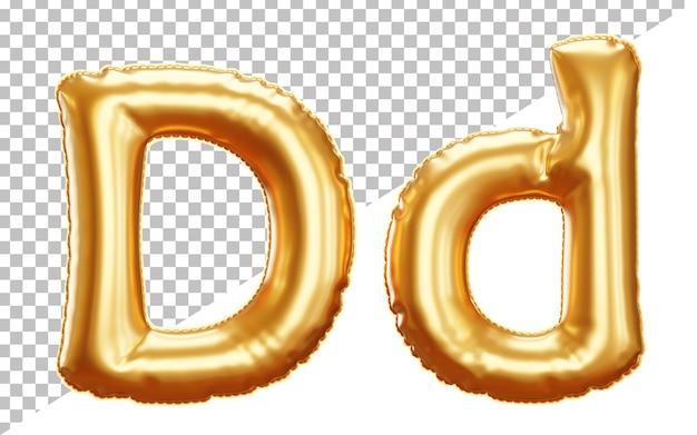 Buchstabe d goldfolienballonalphabet in der groß- und kleinschreibung der art 3d