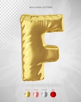 Buchstabe f in der 3d-darstellung des ballons isoliert