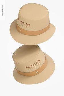 Bucket hats mockup, fallend