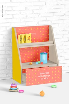 Bücherregal mit aufbewahrung für kinder mockup, ansicht von links