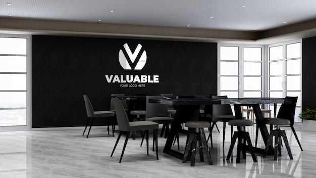 Büro-speisekammer oder küchenraum für firmenbranding-wandlogo mocku