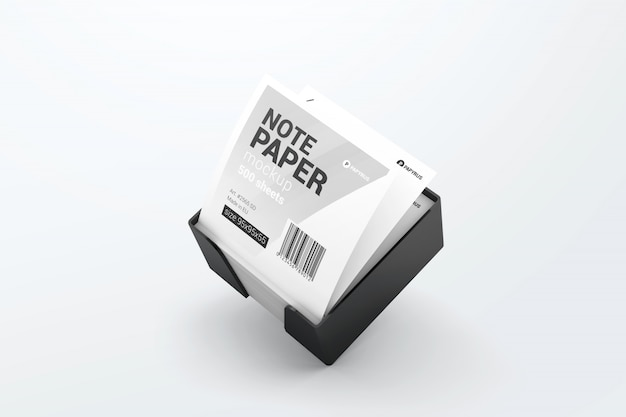 Büroanmerkungspapier im plastikwürfelhaltermodell