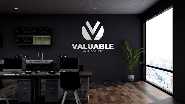 Büroraum arbeitsplatz wand logo mockup